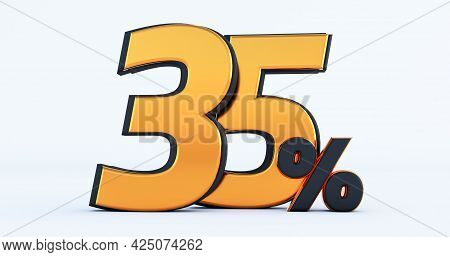 3d Render Of Discount Thirty-five 35 Percent Off Isolated On White Background
