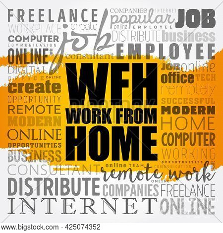 Wfh - Work From Home Word Cloud, Business Concept Background