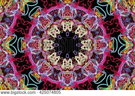 Abstract Pattern Of Bright Multicolored Threads On Black Background With 3d Effect