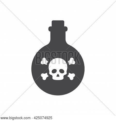 Bottle Poison Skull Icon Bones Round.eps
