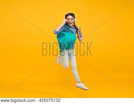 Improve Accessibility Of Education. Feel Impact. Regular School Day. Stylish Schoolgirl. Girl Carry