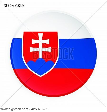 Slovakia Flag Icon In Modern Neomorphism Style. Button For Mobile Application Or Web. Vector On Whit