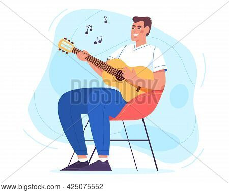 Happy Young Man Sitting In Armchair And Playing Guitar. Hobby And Relaxing Weekend At Home Vector Il