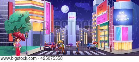 Rain In Dark City. Paddles With Umbrellas Crossing Road. People At Crosswalk With Cars. Wet And Rain