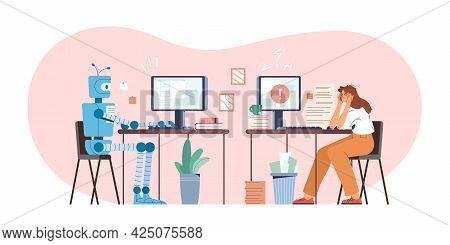 Robot Vs Human Flat Vector Illustration. Robotic Machine And Tired Woman Working At Computer In The
