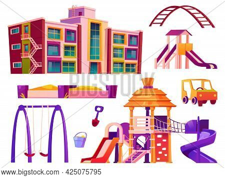 Playground And Kindergarten Elements, Isolated Swings And Sandbox, Attractions For Kids. Building Fo
