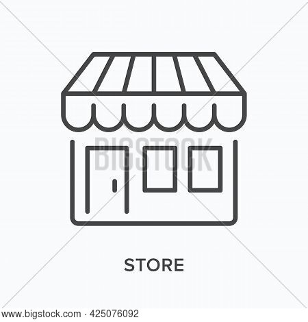 Store Flat Line Icon. Vector Outline Illustration Of Little Shop With Awning. Black Thin Linear Pict