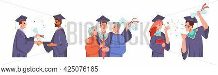 Graduation Set, Receiving Diploma, Congratulating Parents, Celebrating Finish Of Collage Or Universi