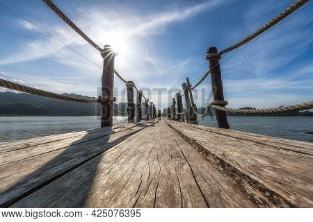 The Beautiful Scenery Of The Wooden Bridge At Ao Talet (ta Lhet) Bay, Khanom, Nakhon Si Thammarat, T