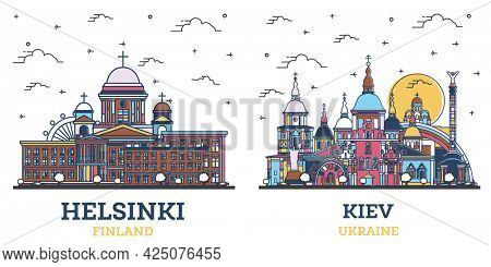 Outline Kiev Ukraine and Helsinki Finland City Skyline Set with Colored Historic Buildings Isolated on White. Cityscape with Landmarks.