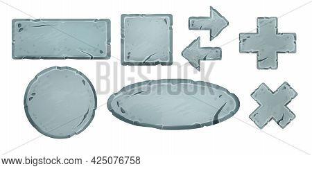Game Stone Vector Sign Board Set, Rock Rectangle Panel, Square Ui Boulder, Cross Button, Pointer, Ci