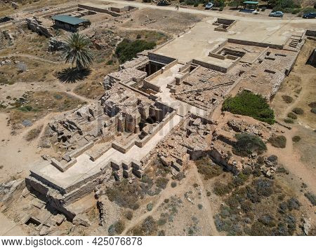 Drone View At The King's Tomb Of Pafos In Cyprus Island.