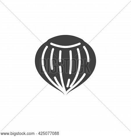 Hazelnut Shell Vector Icon. Filled Flat Sign For Mobile Concept And Web Design. Hazelnut Nut Glyph I