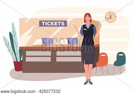 Airport Web Concept. Reservations And Ticket Sales Counter Or Flight Check-in Counter. Airport Staff