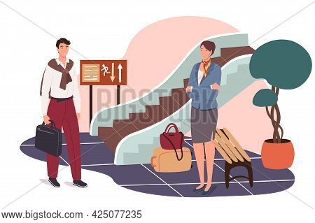 Airport Web Concept. Passengers With Their Luggage Go To Boarding Gate Of Plane. Man And Woman Trave