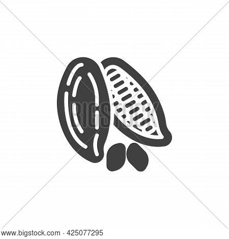 Cocoa Beans Vector Icon. Filled Flat Sign For Mobile Concept And Web Design. Cocoa Seed Glyph Icon.
