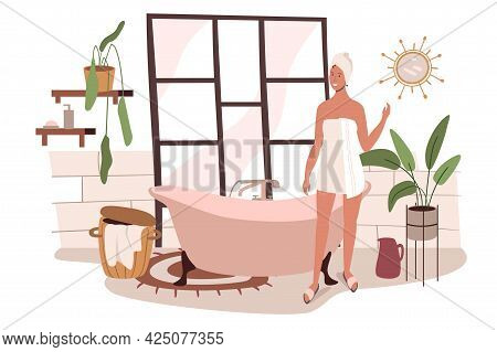 Modern Comfortable Interior Of Bathroom Web Concept. Woman Taking Bath In Cozy Room With Bathtub, Ho
