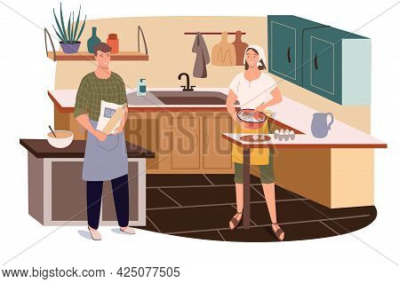 Couple Cooking At Home Kitchen Web Concept. Man And Woman In Aprons Preparing Breakfast, Dinner Or H