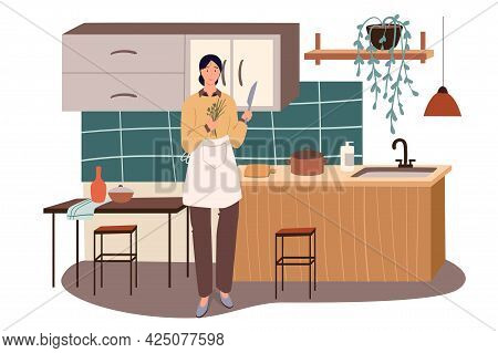 Woman Cooking At Home Kitchen Web Concept. Housewife In Apron Cuts Greens With Knife, Prepares Homem