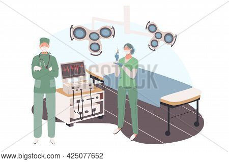 Medical Office Web Concept. Surgeon And Assistant Prepare For Operation, Stand In Surgical Room With