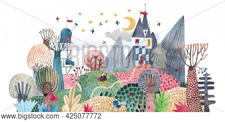 Fairy-tale landscape. Painting for the children's room. Image with mountains, fairy castles, exotic plants. Watercolor illustration.