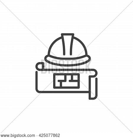 Engineering Project Line Icon. Linear Style Sign For Mobile Concept And Web Design. Hard Hat And Blu