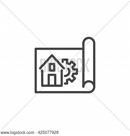 Home Repair Service Line Icon. Home Blueprint And Gear Linear Style Sign For Mobile Concept And Web