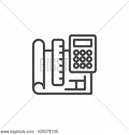 Engineering Project Plan Line Icon. Linear Style Sign For Mobile Concept And Web Design. Paper Bluep