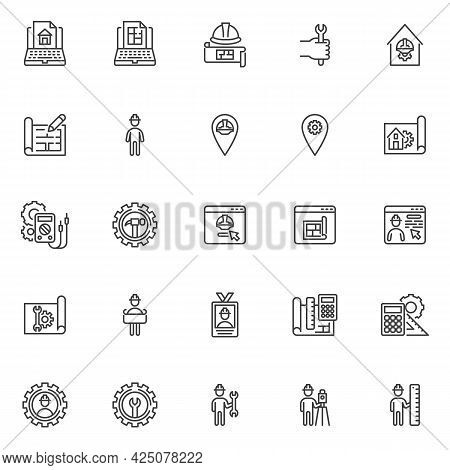 Engineering Service Line Icons Set. Linear Style Symbols Collection, Outline Signs Pack, Vector Grap
