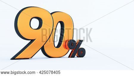 3d Render Of Discount Ninety 90 Percent Off Isolated On White Background