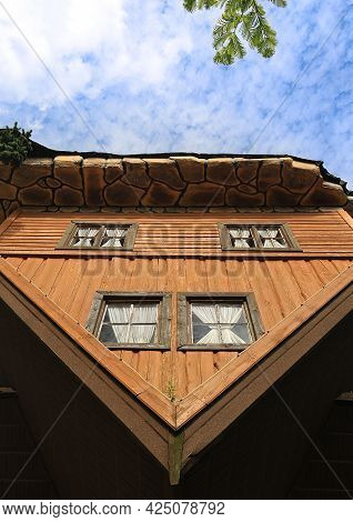 Szymbark, Poland - August 18, 2017: Famous Upside Down House In Open Air Museum Of Szymbark Village