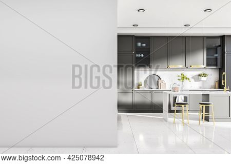 Contemporary Kitchen Interior With Island, Appliances, Sunlight And Mockup Place On Wall. Design Con