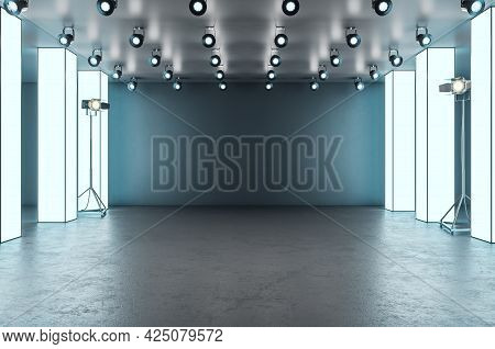 Modern Glowing Exhibition Hall Blank Mockup Stage In Concrete Interior. Museum And Gallery Concept.