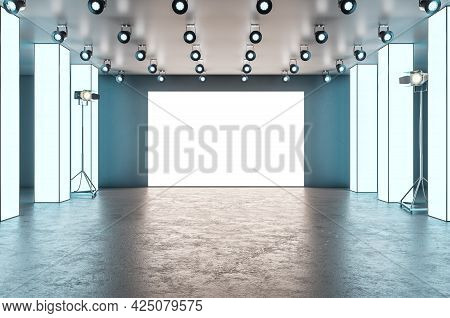 Modern Glowing Exhibition Hall Blank Banner Stage In Concrete Interior. Museum And Gallery Concept.