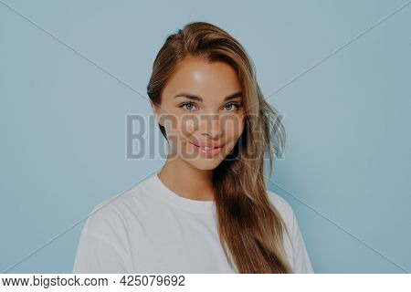 Close Up Portrait Of Smiling Stylish Young Beautiful Woman With Long Straight Light Brown Hair In Wh