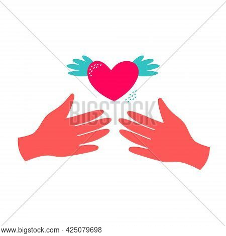 Love And Compassion Hand Drawn Vector Illustration. Hands Holding Heart Isolated On White Background