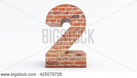 3d Render Of Number Two From Building Bricks, Concept Of Bricks That Build Up To Form The Number 2