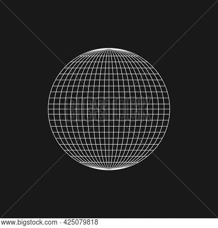 Retrofuturistic Planet Shape. Cyberpunk Geometry Of Planet. Circle Geometry For Poster, Cover, Merch