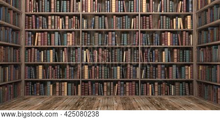 Vintage books on bookshelves in old library. Education and literature concept. 3d illustration