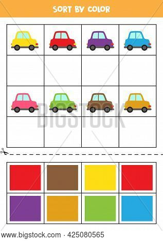 Sort By Colors. Cute Colorful Cars. Learning Basic Colors For Kids.