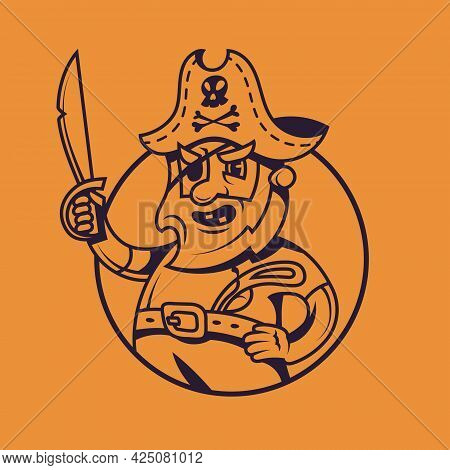 One Eyed Ship Captain. Pirate Concept Art In Monochrome Style.