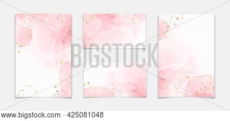 Abstract Blush Pink Liquid Watercolor Background With Golden Glitter Stains And Lines. Rose Marble A