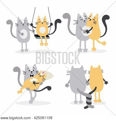 Lovely Cats In Love Get Married. Valentine's Day, Wedding Celebration Decor, Invitations, Greeting C