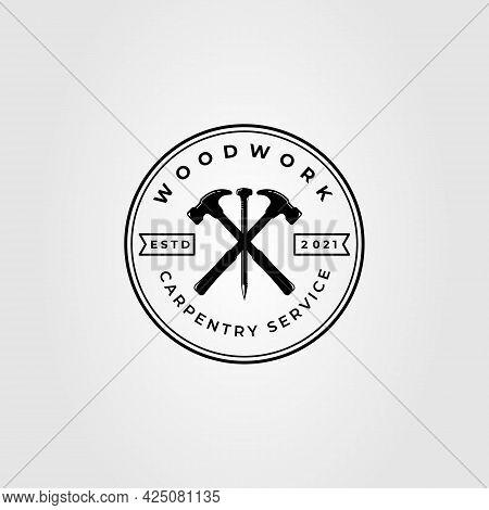 Woodworking Hammer, Nails, Carpenter And Carpentry Logo Vector Template Illustration Design