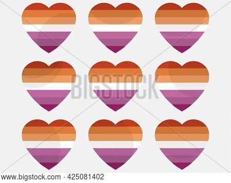 Hearts With Lesbian Flag, Icon Set. Lesbian Pride Day. Lgbt Sexual Minorities. Collection Of Icons O