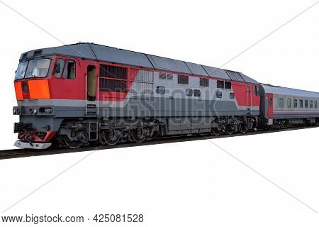 Diesel Electric Locomotives Train With Railroad On White Background.perspective View Of Passenger Tr