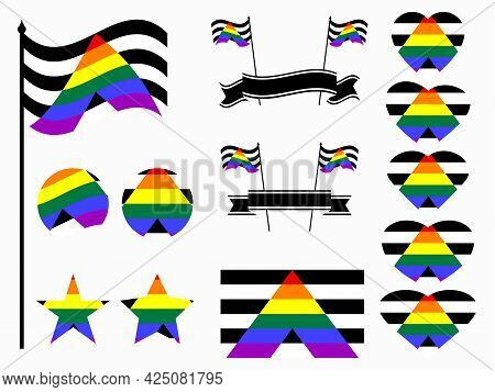Straight Ally Pride Flag Collection Of Symbols. Hearts, Stars And Circles With Straight Ally Flag. S