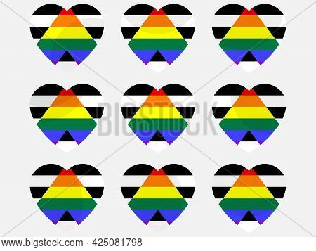 Hearts With Straight Ally Flag, Icon Set. Lgbt Pride Day. Lgbt Sexual Minorities. Collection Of Icon
