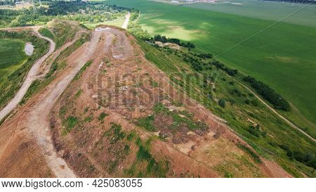 Household Waste Landfill. Closed For Processing. Environment Protection. Aerial Photography.