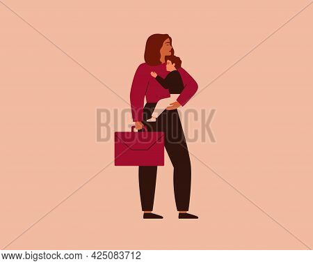 Business Woman Holding Her Baby On One Hand And Briefcase In The Other Hand. Working Mom Has One Chi